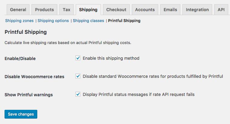 Printful WooCommerce Shipping Options